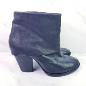 Vince Camuto Black Leather Fold Over Cuff Booties